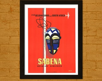 Sabena Airlines Print - Sabena Poster Travel Poster Africa Poster Travel Wall Art Gift Idea Travel Decor