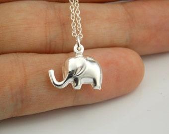 Elephant Necklace, Elephant Jewelry, Elephant Charm, Silver, Elephant, Gifts, Elephant Pendant, Baby Elephant, Sterling Silver, Stampsink