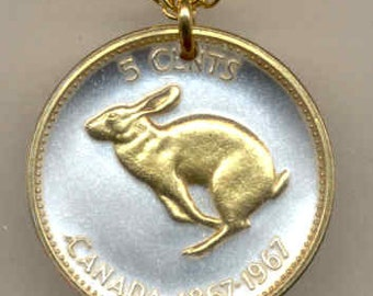 """Canadian Rabbit, Coin - Necklace, Gorgeous 2-Toned """"Gold on Silver"""""""