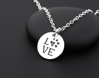 Paw Print Love Necklace, Paw Print Necklace, Sterling Silver, Dog Lover Jewelry, Cat Lover Jewelry, Animal Lover Gift, Paw Print Jewelry