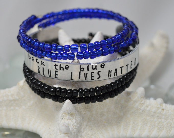 Back the Blue, Blue Lives Matter, Hand Stamped Cuff Bracelet, Personalized Cuff Bracelet, Back The Blue, A Thin Blue Line, Blue Lives