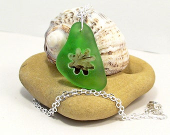 Flower Sea Glass Necklace Seaglass Jewelry Beach Jewelry Beach Wedding Sea Glass Jewelry