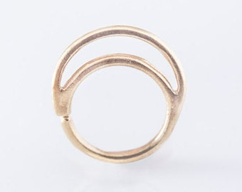 Moon nose ring / Piercing / 24K Gold plated / Sterling silver / Septum ring / Ear cuff