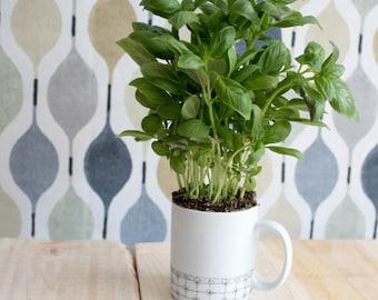Mug handpainted, minimalist motif, azulejos, modern, graphic