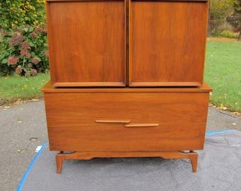 Mid Century Modern Armoire, Tall Boy Dresser, Tall Chest of Drawers, Gentleman's Chest, Mid Century Dresser, Armoire