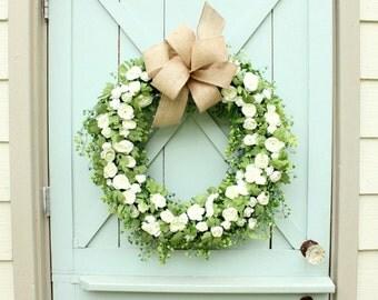 Spring Wreath ~ Year Round Wreath ~ Summer Wreath ~ Front Door Wreath ~ Wedding Wreath ~ Door Wreath ~ Front Door Wreath