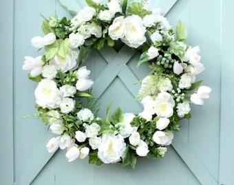 Spring Tulip Wreath ~ White Tulip Wreath ~ Spring Wreath ~ Easter Wreath ~ White Spring Wreath ~ White Tulips
