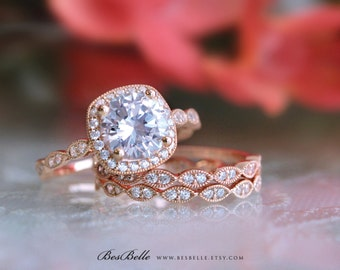 2.79 ct.tw Art Deco Bridal Set Ring-Halo Engagement Ring W/ Two Eternity Band Ring-Vintage Style-Rose Gold Plated-Sterling Silver [6053RG-3]