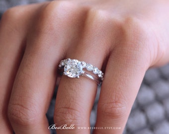 4.0 ct.tw Wedding Set Ring-Solitaire Engagement Ring W/ 3.0mm Eternity Band Ring-Brilliant Cut Diamond Simulant-Sterling Silver [61353-2-2]