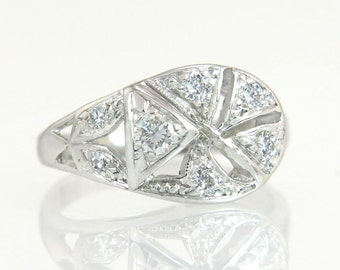 Antique Vintage Estate Art Deco .20ct Genuine Diamond 14K White Gold Milgrain Ring 2.5g