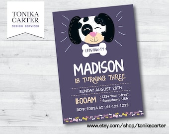 Dalmatian Doggy Birthday Invitation (girl)