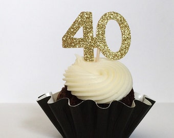40th Glitter Cupcake Toppers - Anniversary - 40th Birthday - CUSTOMIZABLE