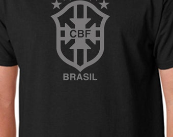 Black Brasil T Shirt Custom Soccer Grey Brazil