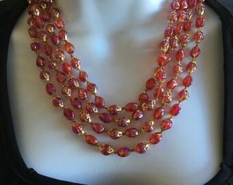Mid Century Ruby Red Iridescent Lightweight Beaded Multi Strand Necklace