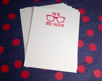 Valentine's Day Flat Cards and Envelopes - Red and White - Set of 8