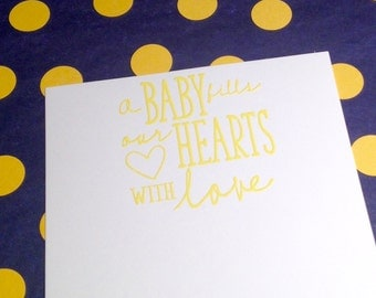 New Baby/Baby Shower Thank You Note Cards & Envelopes - Yellow and White - Set of 8