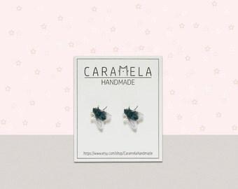 Fly Insect Stud Earrings Fly stud earrings Insect earrings post earrings Insect jewelry Gift idea