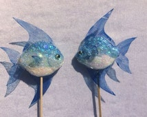 2 Blue Fish Cake Toppers Glitter Fish Cake Decorations Mermaid Wedding Theme Ocean Party Theme Topper Nautical Cake Toppers