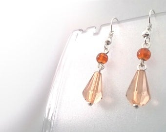 Dainty Brown Crystal Tear Drop Dangle Earrings, Gift for Her, One of a Kind