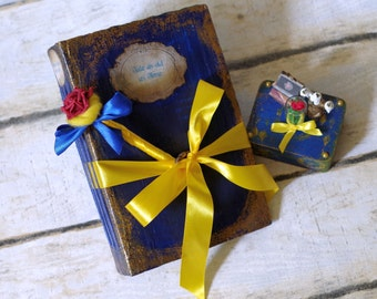 SET of 3: Beauty and the Beast Wedding Guest book and photo album 2in1 - Personalized wedding ring box with miniatures & pen