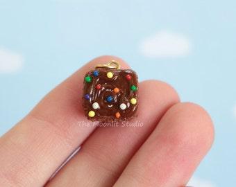 Kawaii Sprinkle Brownie Charm, Polymer Clay Miniature, Handmade