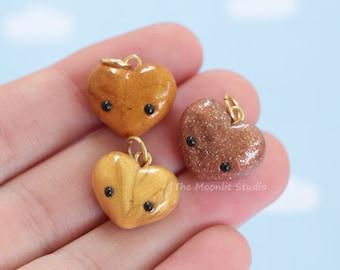 Golden Kawaii Heart Charm, Polymer Clay Jewelry, Miniature Heart
