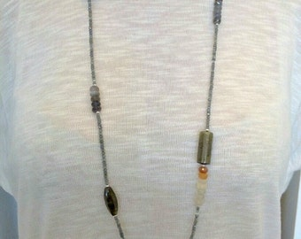 Long Gemstone Necklace/Labradorite, Moonstone and Aquamarine Necklace - 7033