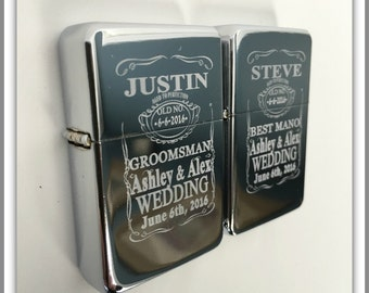 Best Man and Groomsmen gift set -2 Personalized lighters - Groomsmen gifts -Bridesmaid gifts -Wedding gifts -Best man gift - 2 Wedding gifts