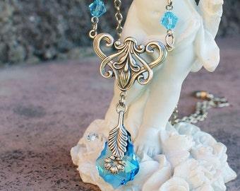 Swarovski necklace, vintage necklace, victorian necklace, silver necklace, blue necklace