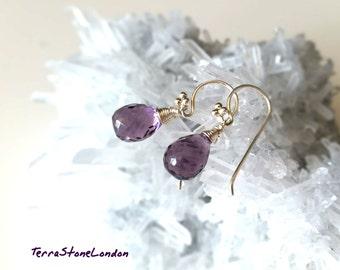 Purple Amethyst Sterling Silver Earrings, African Amethyst Gemstone Earrings, February Birthstone