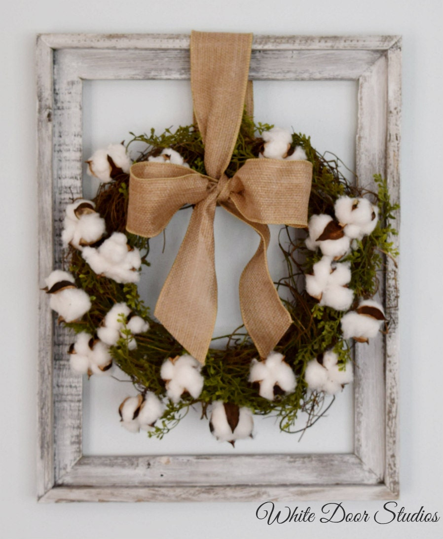 Cotton wreath wall decor rustic wall decor unique wall for Unique wall art