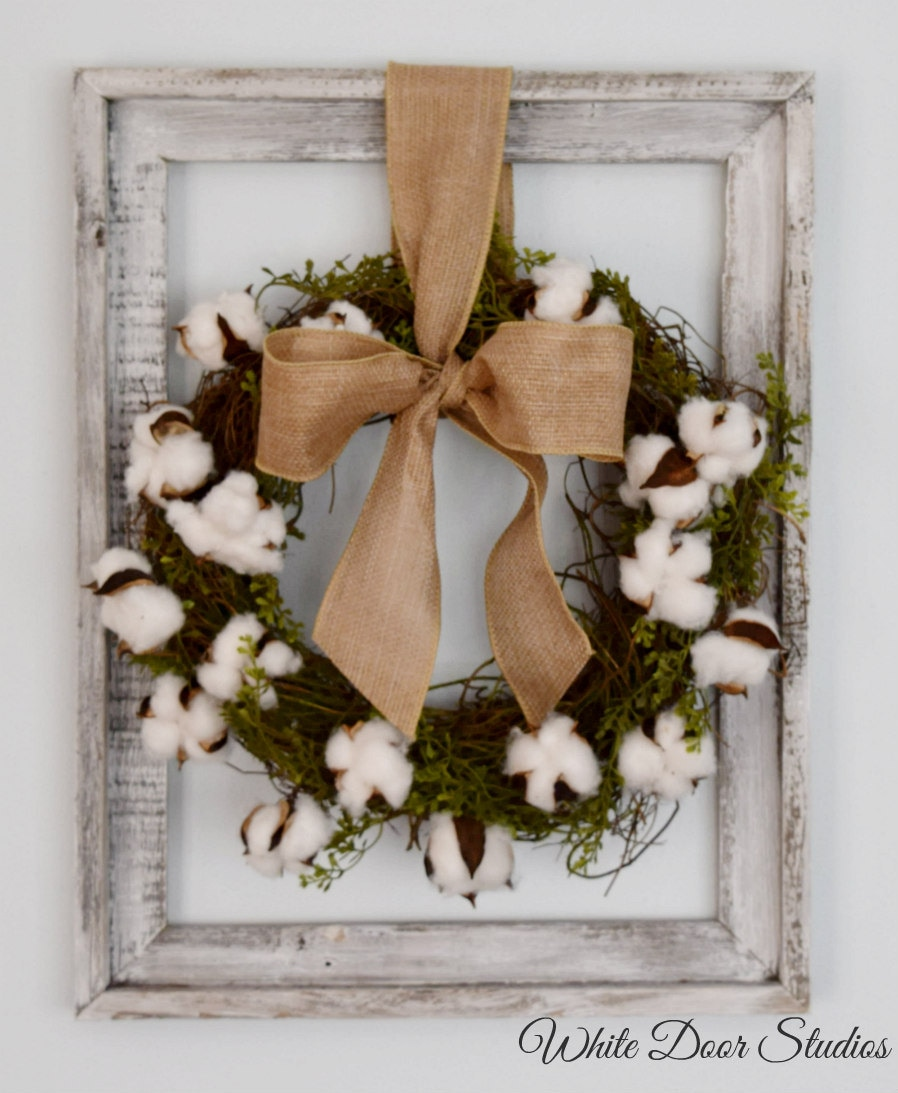 Cotton wreath wall decor rustic wall decor unique wall for Unusual decorative accessories