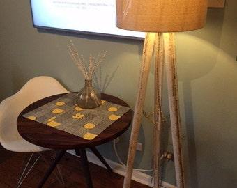 Vintage White Rustic Camera Tripod Lamp