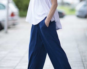Women pants, Cotton Pants, Summer Pants, Women Trousers, Loose Pants, Wide Leg Trousers, Blue Pants, Casual Pants, - PA0762TR