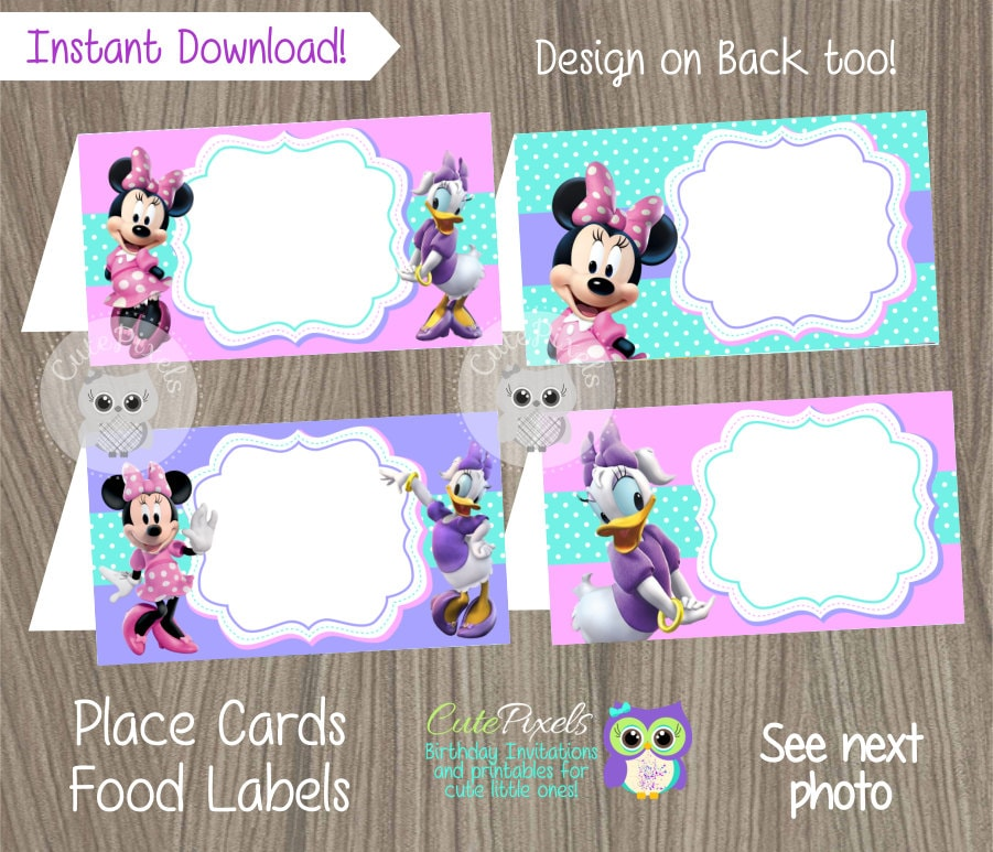 Minnie Mouse Place Cards Minnie Mouse Food Label Minnie