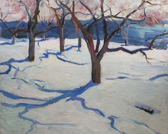 "VINTAGE WINTER LANDSCAPE Original Oil Painting by Bondarenko N. 1970's 26,1""x28,1"" Ukrainian Art,One of a Kind, High Quality, Snow Landscape"