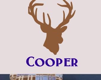 Personalized, Boy, Name, Vinyl, Wall, Decal, Home, Decor, Rustic, Outdoors, Buck, Deer, Bedroom, Nursery, Teenage, Antlers, Hunter