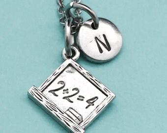 Chalkboard necklace, chalkboard charm, teacher necklace, personalized necklace, initial necklace, initial charm, monogram