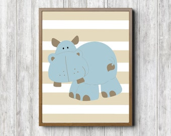 Instant Download - Hippo Boys Room /Nusery Printable Wall Art - Hippopotamus Print - Blue & Beige - Safari / African Animal Print - 8 x 10