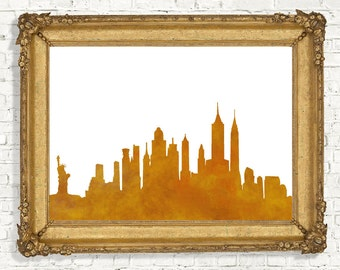 New York Skyline Printable Wall Decor - Watercolor New York City Wall Art - Cityscape Art Poster - Yellow Art -World Cities -Digital Artwork