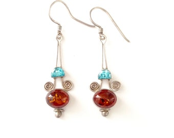 Vintage Sterling Topaz and Amber Bohemian Dangle Drop Earrings