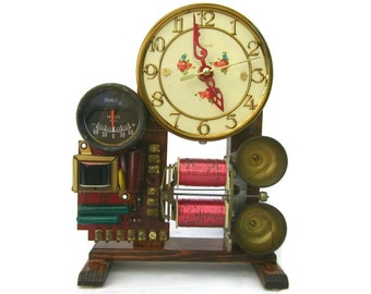 Upcycled Vintage Electronics Steampunk Desk Clock