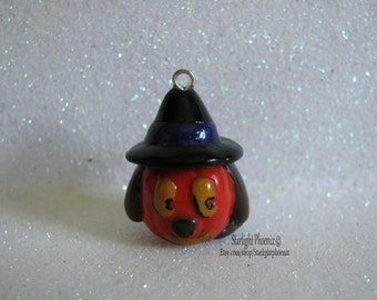 Halloween, Halloween Dog, Witch, Clay Charm, Fall, Autumn, Polymer Clay, Polymer Clay Charm, All Hallows Eve, Halloween Charm, Dog Charm