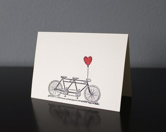 Handmade Tandem Bike & Red Embossed Heart Card