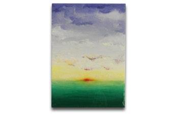 Sunrise, Original Acrylic and Resin Painting, Handmade by MENGXUAN LIU