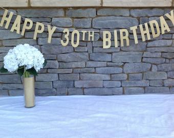 HAPPY BIRTHDAY BANNER | Gold Glitter Happy 30th Birthday Banner | 30th Birthday Banner | Gold 30th Birthday Banner | 30th Birthday