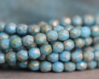 SUMMER SALE Czech Glass Beads, 4mm, Faceted, Round, Sky Blue, Picasso, Fire Polished, Seed Beads, 50 pieces
