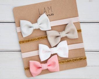 Tuxedo Bow Baby Headband Set of Four - Fabric Bows - Pink Gold Neutral Headband - Baby Girl Infant Bow - Elastic Headband or Alligator Clip