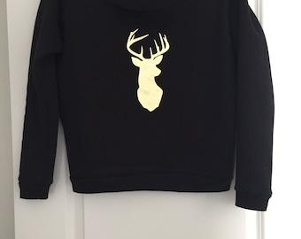 Deer Head - Holiday Fleece Wide Neck Sweatshirt
