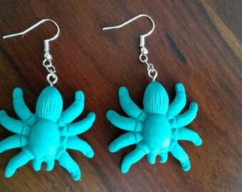 Teal Spider Earrings